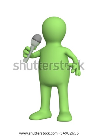3d puppet, singing with a microphone - over white