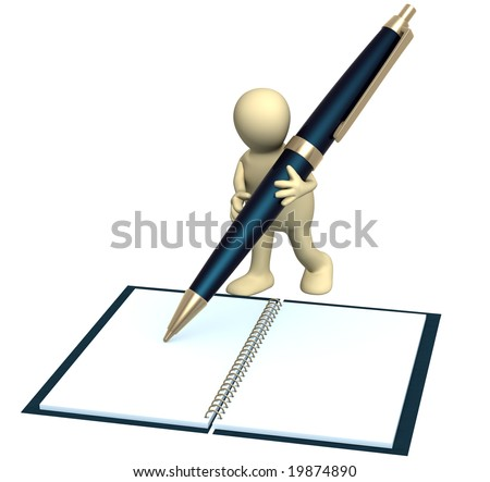 3d puppet with a pen. Object over white