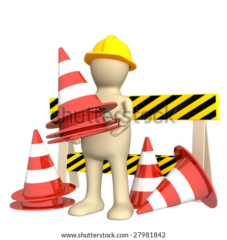 3d puppet with emergency cones - stock photo