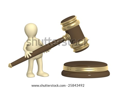 3d puppet with judicial gavel