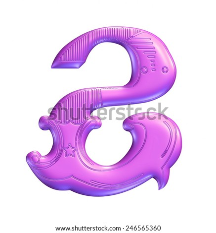 3D purple color illustration of an English number digit 2 in graphic style with ornaments on isolated white background. - stock photo