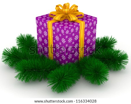 3D purple Gift christmas box with yellow bow and sprigs of christmas tree on the white - stock photo