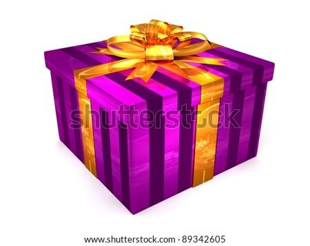 3D purple Gift cristmas box on the white - stock photo