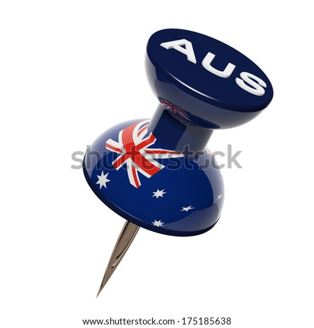3D pushpin with flag of Australia isolated on white - stock photo