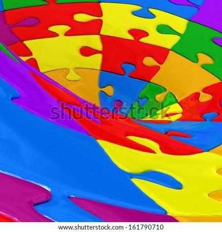 3d puzzle background - stock photo
