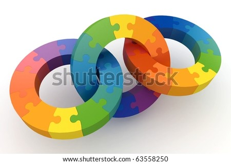 3d puzzle color wheels isolated on white - stock photo