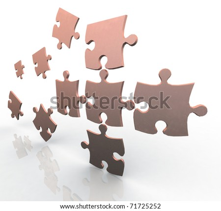 3d puzzle flying in space - stock photo