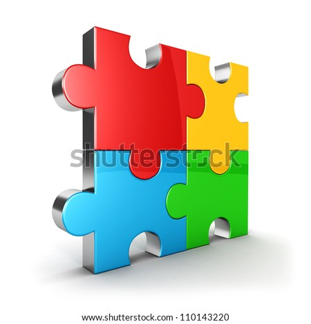 3d puzzle icon, four color puzzle piece, isolated background, 3d image - stock photo