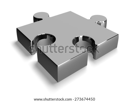 3D. Puzzle, Jigsaw Piece, Silver. - stock photo