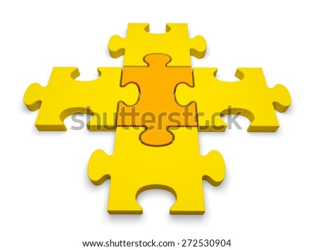 3D. Puzzle, Jigsaw Puzzle, Individuality. - stock photo
