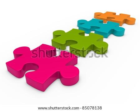 3d puzzle series pink green blue orange - stock photo