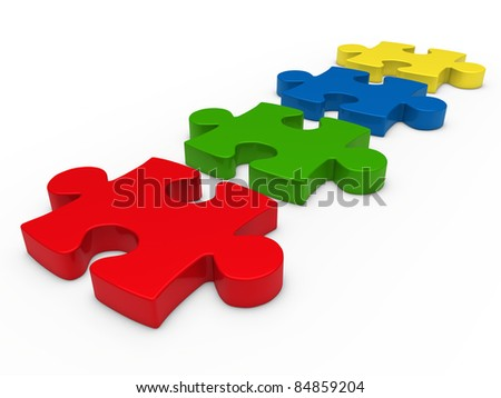 3d puzzle series red blue green yellow - stock photo