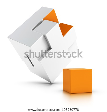 3d puzzle with an orange missing part over white background, symbol of intergration - stock photo