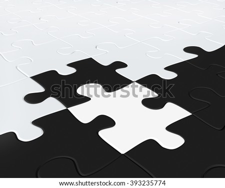 3d puzzles of black and white color combined together - stock photo