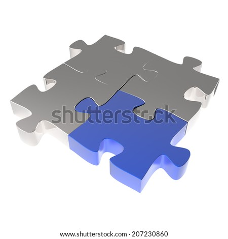 3d puzzles partnership as concept  - stock photo