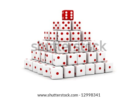 3D pyramid built of dice with numbers increasing - stock photo