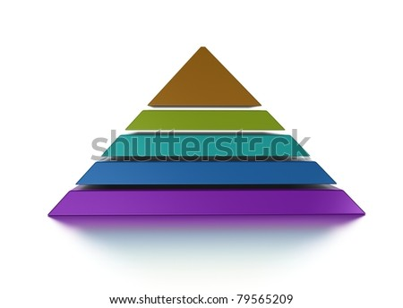 3D pyramid chart vue from front, graph is layered - stock photo