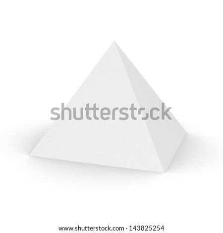 3d pyramid on white background