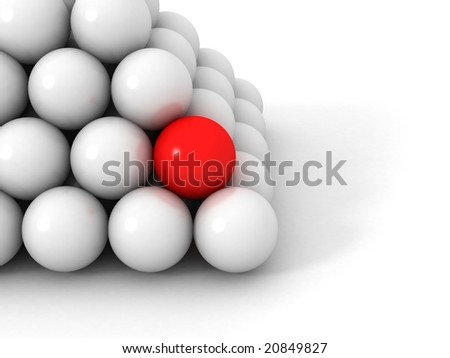 3d pyramid red and white balls