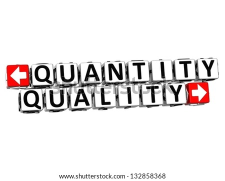 3D Quantity Quality Button Click Here Block Text over white background - stock photo