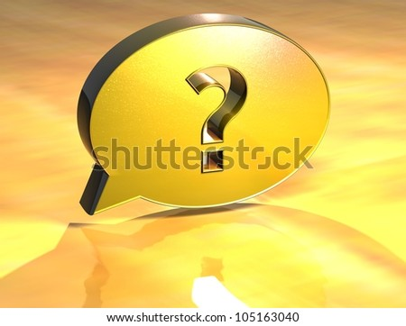3D Question Gold Sign over yellow background - stock photo