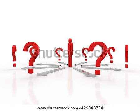 3d question mark around the business people - Solution problems in the design of information related to the problem