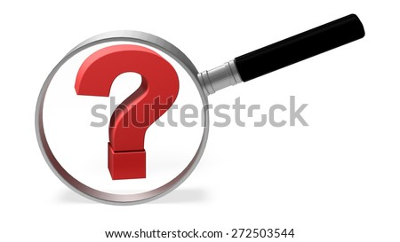 3D. Question Mark, Magnifying Glass, Comparison. - stock photo