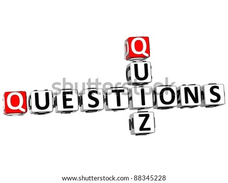 3D Question Quiz Crossword on white background - stock photo