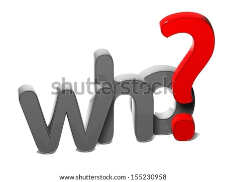 3D Question Word Who on white background  - stock photo