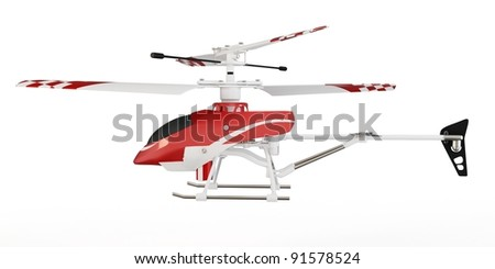 3d radio controlled helicopter model on white background