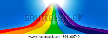 3D Rainbow perspective line with blue sky - stock photo