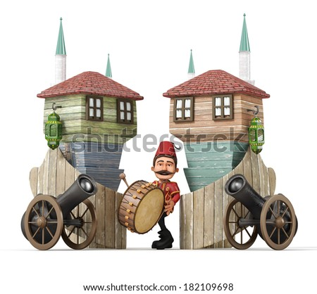 3d ramadan concept-ramadan drummer,drum,ramadan gun,muslim neighborhood - stock photo