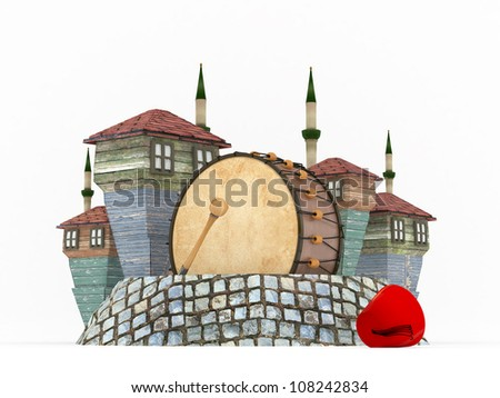3D Ramadan Drum in Muslim neighborhood-isolated - stock photo