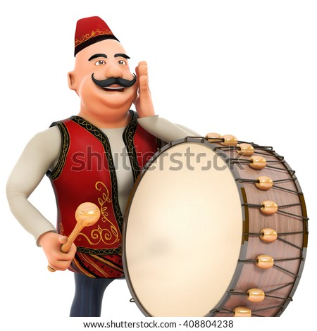 3D ramadan drummer announcing to people - stock photo