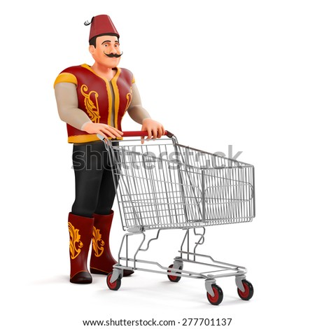 3d ramadan drummer with shopping cart