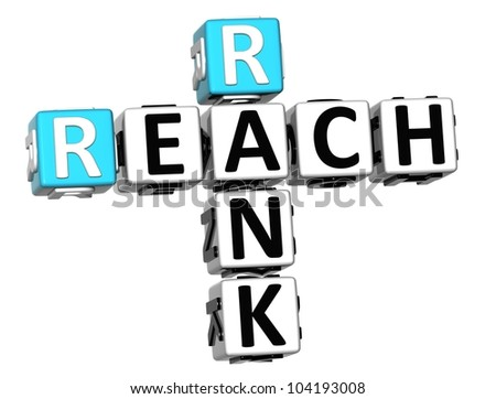 3D Reach Rank Crossword on white background - stock photo