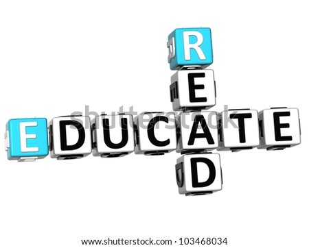 3D Read Educate Crossword on white background