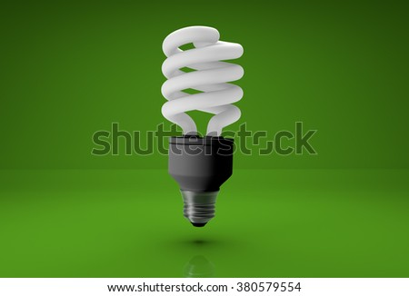 3d realistic energy saving bulb on green background - stock photo