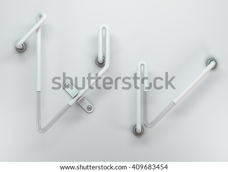 3d realistic neon  alphabet with  white glossy metal and transparent glass. In the style of old advertising signs. Isolated on background with soft shadows.Uppercase and lowercase letters V  - stock photo