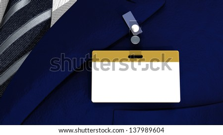 3D realistic render with colored blank badge on a business man suit - stock photo