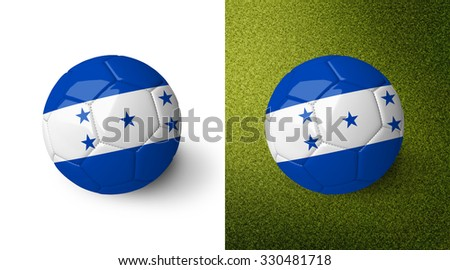 3d realistic soccer ball with the flag of Honduras on it isolated on white background and on green soccer field. See whole set for other countries. - stock photo