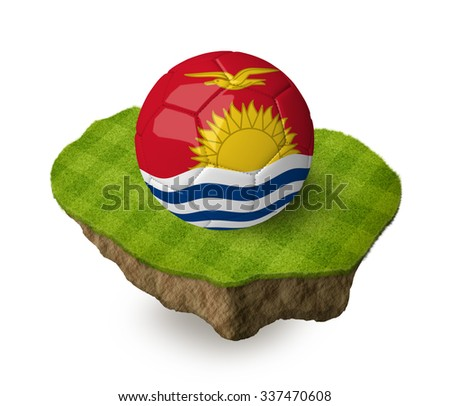 3d realistic soccer ball with the flag of Kiribati on a piece of rock with stripped green soccer field on it. See whole set for other countries.