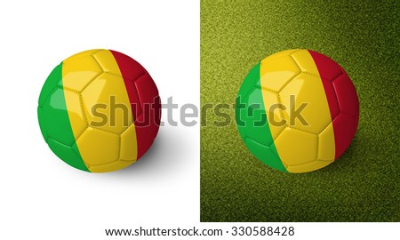 3d realistic soccer ball with the flag of Mali on it isolated on white background and on green soccer field. See whole set for other countries.  - stock photo