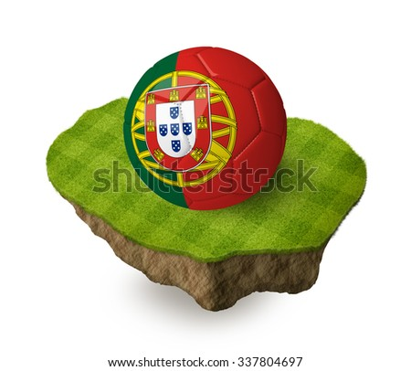 3d realistic soccer ball with the flag of Portugal on a piece of rock with stripped green soccer field on it. See whole set for other countries.