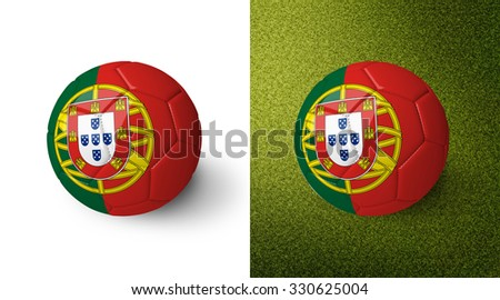3d realistic soccer ball with the flag of Portugal on it isolated on white background and on green soccer field. See whole set for other countries.