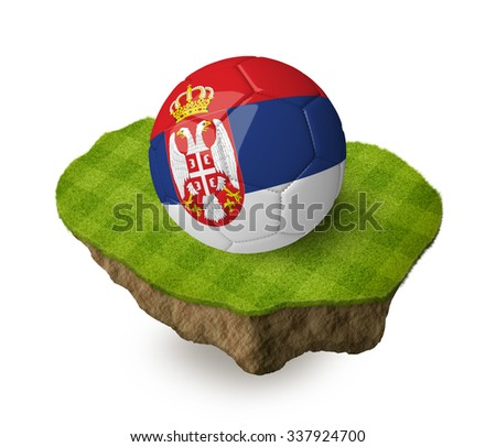 3d realistic soccer ball with the flag of Serbia on a piece of rock with stripped green soccer field on it. See whole set for other countries.  - stock photo