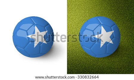 3d realistic soccer ball with the flag of Somalia on it isolated on white background and on green soccer field. See whole set for other countries.  - stock photo