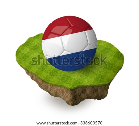 3d realistic soccer ball with the flag of the Netherlands on a piece of rock with stripped green soccer field on it. See whole set for other countries. - stock photo