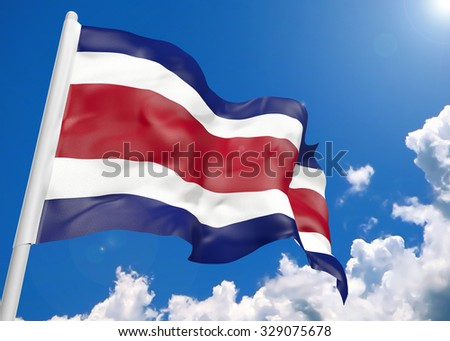 3D realistic waving flag of Costa Rica