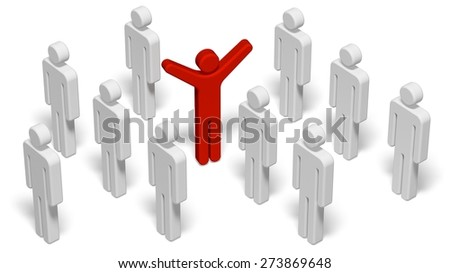 3D. Rebellion, Individuality, Standing Out From The Crowd. - stock photo